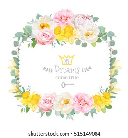 Cute floral square vector design frame with wild rose, narcissus, camellia, peony, green eucalyptus. Pink, white and yellow flowers. Invitation card. All elements are isolated and editable