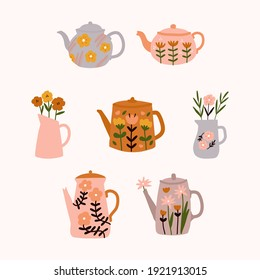 Cute floral teapot with bouquet of spring flowers in scandinavian style modern and elegant home decor print design illustration for greetings cards sticker label posters congratulations tea shop store