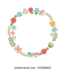 cute floral wreath decorative vector illustration design