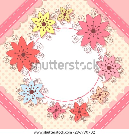 Cute Flower Birthday Card Baby Shower Stock Vector Royalty Free