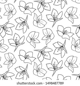 Cute flower doodle pattern hand drawn
