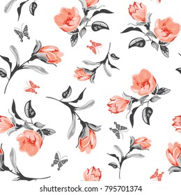 cute flower with leaves vector pattern for fashion print