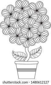 cute flower pot black white 260nw