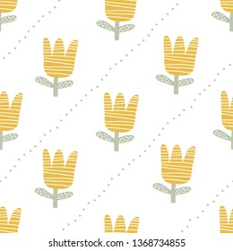 Cute flower texture with abstarct shapes and textures. Childish seamless floral pattern in trendy scandinavian style. Great for textile, fabric, wrapper and wallpaper. Vector illustration.