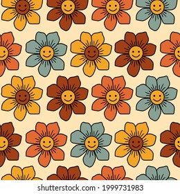 Cute flowers with 70's retro colors seamless pattern Background. Perfect for fabric, wallpaper, giftwrap, scrapbooking art and packaging design projects.