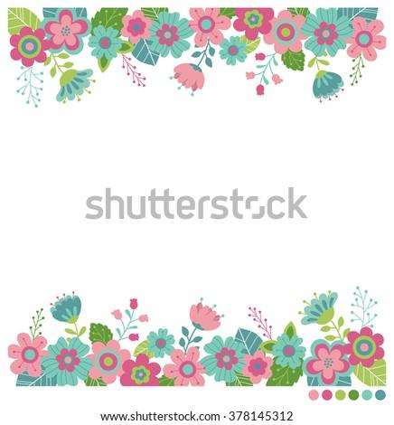 Cute Flowers Border Vector Invitation Wedding Stock Vector Royalty