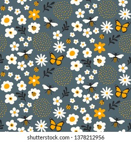 Cute flowers and bugs seamless pattern - Cartoon bugs, plants, herbs, flowers - Childish design for wrapping paper and textile