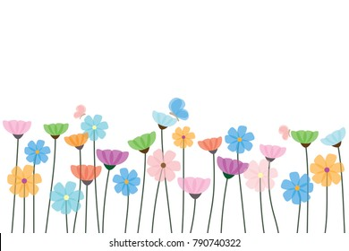 Cute Flowers and Butterflies on white background vector and illustration, Nature background seamless on horizontal, flat design