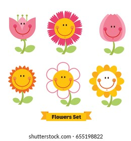 Cute flowers emoticon set. Funny smiley flowers. Happy doodles for your design. Bright and beautiful cartoon characters.