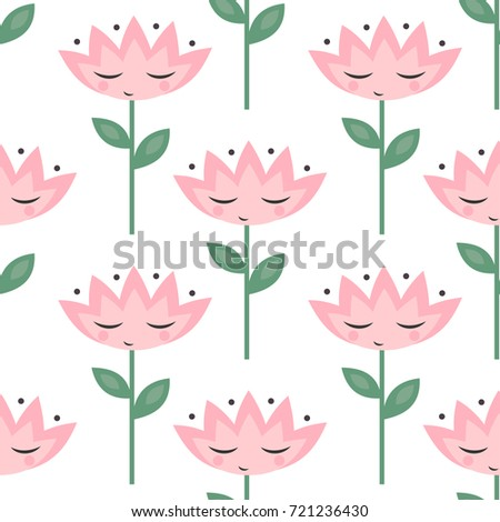 Cute flowers eyes pattern on white stock vector royalty free cute flowers with eyes pattern on white background pink cartoon flowers seamless background child mightylinksfo