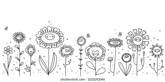 Cute flowers with faces and bees. Vector doodle border.