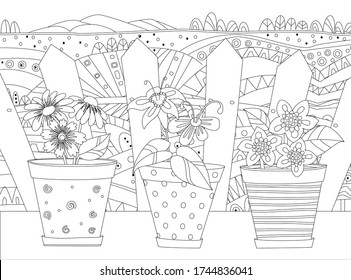 cute flowers in flowerpots against rural landscape with fence. growing flowers for your coloring book