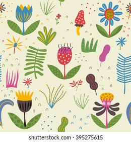 Cute flowers on a summer glade. Cheerful flowers are growing under the bright sun. Vector format