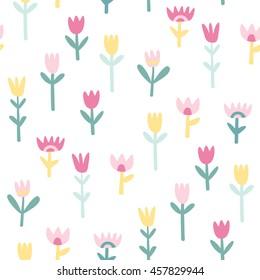 Cute flowers seamless pattern