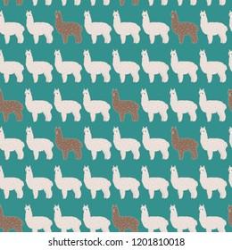 Cute fluffy light and dark alpacas. Vector seamless pattern, eps10.
