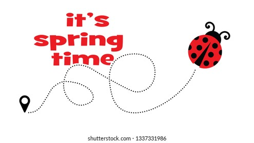 Cute fly flying ladybug Vector dotted route Vector fun funny track map pin navigation location pointer icon flight route gps Hello summer Let the spring begin line pattern ladybugs love heart time
