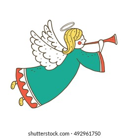 Cute flying angel with flute. Hand drawing illustration