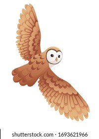 Cute flying barn owl (tyto alba) with white face and brown wings cartoon wild forest bird animal design flat vector illustration isolated on white background