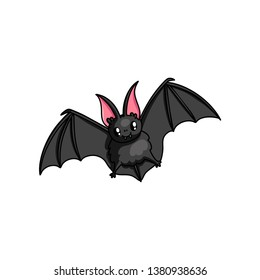 Cute flying bat with shiny eyes and red ears