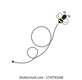 Cute Flying Bee with Dotted Route