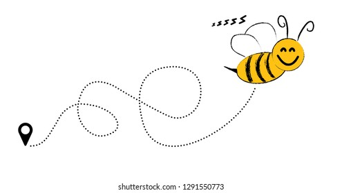 Cute flying Bee happy dotted route Vector fun funny vector track map pin navigation location pointer icon flight route start line trace sign gps flying fly jet airline Honeycomb honey Beehive shapes