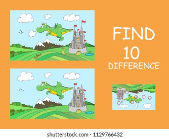 Cute flying dragon with castle on background. Find 10 differences. Educational game for children. Cartoon vector illustration