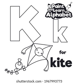 Cute flying kite, decorated with smiling label and bows ready to be colored, letter K in majuscule and minuscule for didactic alphabet learning.