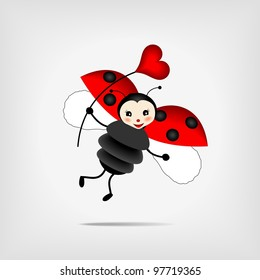 cute flying ladybug holding  red heart - vector illustration