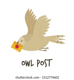 Cute flying owl with a letter. Owl post concept. Vector illustration.
