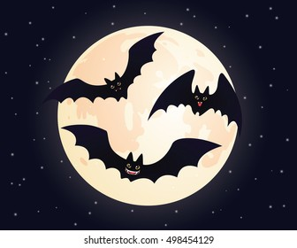 Cute flying and smiling Bats. Set of funny bats for Halloween in flat cartoon style isolated on a Moon background. Vector illustration.  Element for your design, print and artwork.