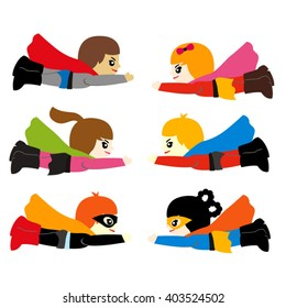 Cute flying superhero vector.