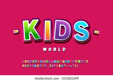 Cute Font for Kids. Cute 3D Font style. Gradient color Glossy Alphabet Letters, Numbers and Symbols.