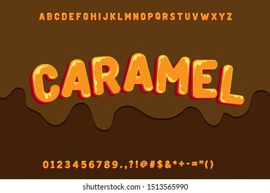 Cute font, sweetness alphabet and melted effect, chocolate and creamy text design custom vector font effect for design element, with full character numbers and symbols.