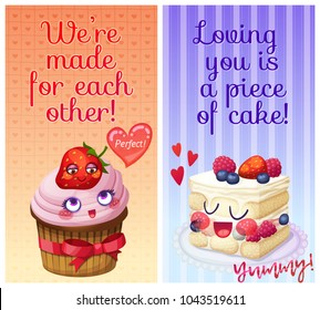 Cute food characters with funny flirty quotes. I tira miss you and Do you want a piece of me sweet puns