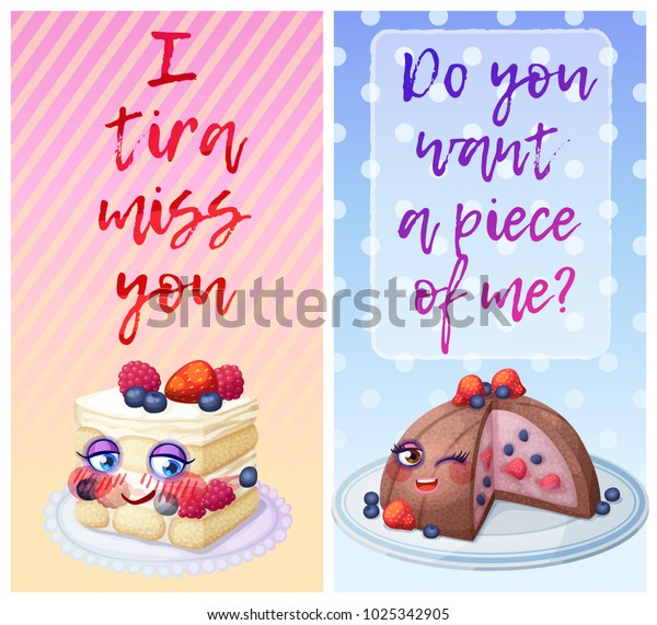 Cute Food Characters Funny Flirty Quotes Stock Vector ...
