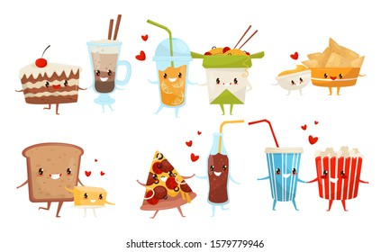 Cute Food and Drinks Cartoon Characters, Best Friends Set, Delicious Fast Food Menu Vector Illustration