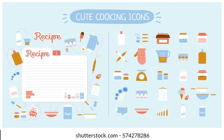 Cute food icons set for restaurant, cafe, bakery and fast food. Vector illustration. Isolated. Recipe card template. Kitchen design elements