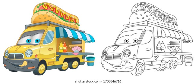 Cute food truck with hot dog. Coloring page and colorful clipart character. Cartoon design for t shirt print, icon, logo, label, patch or sticker. Vector illustration.