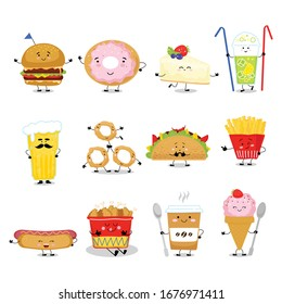Cute food with yummy fast food, sweet dessert, bakery and donut with face on meal comic fast food vector illustration isolated on white. Food cartoon set with cake, lemonade, beer, coffee, ice cream