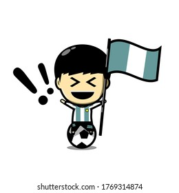 Cute football character player with  flag. Soccer celebration. Ceremony. Illustration vector