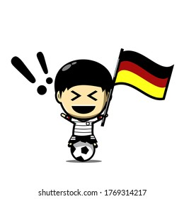 Cute football character player with national flag. Soccer celebration. Illustration vector