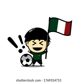 Cute football character player with national flag. Soccer celebration. Ceremony. Illustration vector