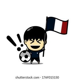 Cute football character player with national flag. Soccer ceremony. Illustration vector