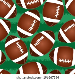 Cute football seamless pattern with grass.