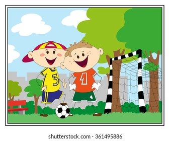 Cute footballer kids