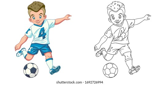 Cute footballer, young boy playing football. Coloring page and colorful clipart character. Cartoon design for t shirt print, icon, logo, label, patch or sticker. Vector illustration.