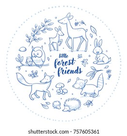 Cute forest animal szene with deer, owl, fox, rabbit, raccoon and squirrel for baby and children card designs or fabric prints. Hand drawn line art cartoon vector illustration.