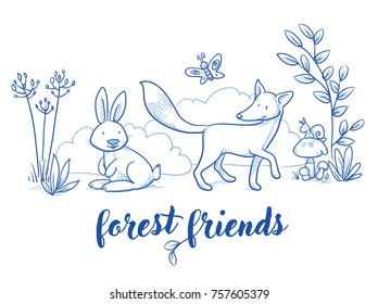 Cute forest animal szene with rabbit and fox for baby and children card designs or fabric prints. Hand drawn line art cartoon vector illustration. romantic