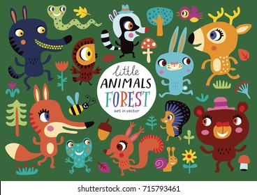Cute forest animals on a green background. Childish vector illustration of rabbit, fox, deer, wolf, bear, bird, owl, squirrel, snake, hare, hedgehog, frog, helix and racoon.