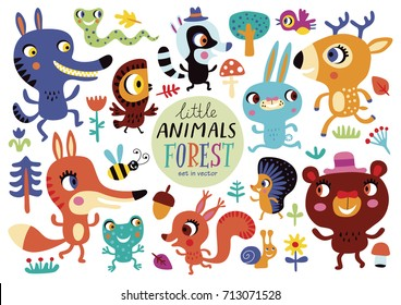 Cute forest animals on a white background. Childish vector illustration of rabbit, fox, deer, wolf, bear, bird, owl, squirrel, snake, hare, hedgehog, frog, helix and racoon.
